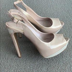 NEW Jessica Simpson nude/beige slingbacks heels